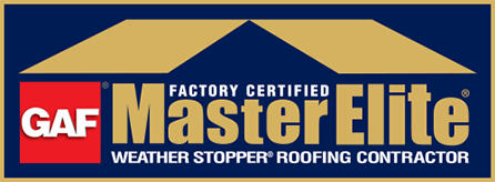 GAF Factor Certified MasterElite Weather Stopper Roofing Contractor logo